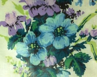 Vintage Chintz Fabric / Blue and Purple  Chintz / Blue Chintz / Purple  Chintz / 1960s Floral Fabric / 1960's Decor / Everfast Inc