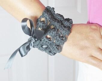 Black Hemp Cuff Ribbon Bracelet, Bead Bracelet, Macrame, Goth Jewelry, Hippie