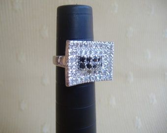 Sterling Silver Modernist Black White CZ Concave Ring