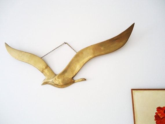 Vintage Brass Seagull, Wall Hanging