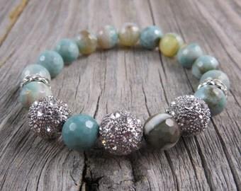 Natural Agate and rhinestone beaded Bohemian stackable bracelet, stertch bracelet