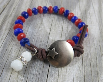 semi precious gemstone bracelet, 4th of july bracelet, patriotic bracelet, star bracelet, jade bracelet, red white and blue bracelet