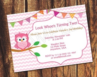 Pink Owl Printable Birthday Invitation (Listing is for a digital file)