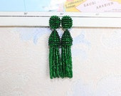 Beaded Tassel Clip-On Earrings Green Shine (made to order)