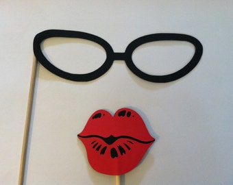 Lips and Glasses on a stick, Wedding photo props, photo booth props
