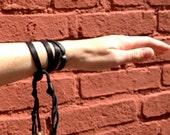 Deerskin Leather Wrap Bracelet Black