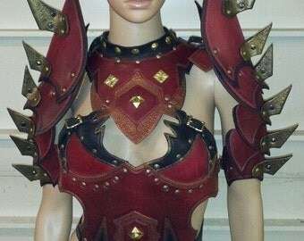 Leather Armor Necromancer Chest Back and Shoulders