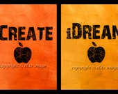 ALL 4 8x10 Teach Create Dream Think Inspiration Saying Motivation Wall Art Posters for Home Office Studio Decor - Four 8x10 Print