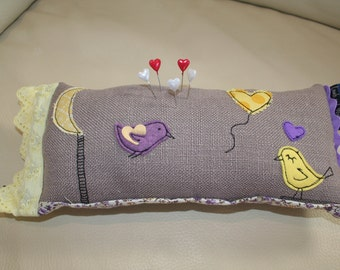 Long pincushion, vintage purple yellow backing, birds, love you to the moon and back