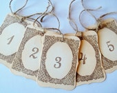 Table Numbers ,Wedding Table Number Tags, Rustic, Shabby -Brown ,Ivory- Set of 10