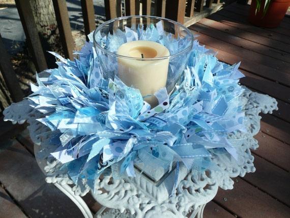 Baby Boy Blue Ribbon Wreath Baby Showerwall