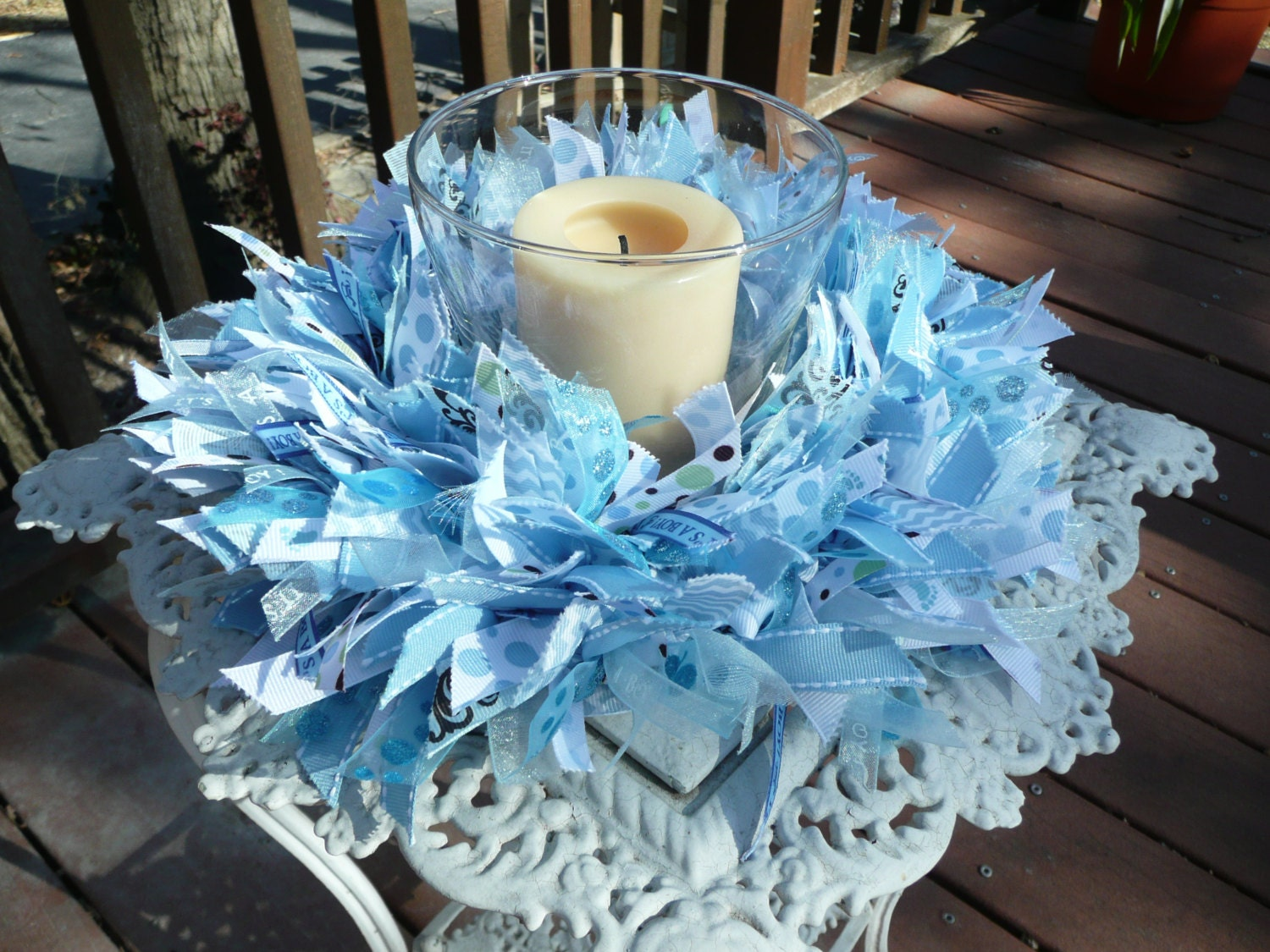 Baby Boy Blue Ribbon WreathBaby ShowerWall By