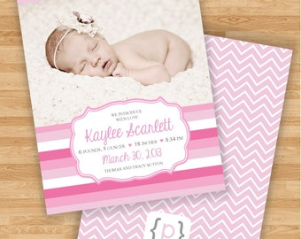 Baby Girl Birth Announcement - Pink Ombre Horizontal Stripe and Chevron
