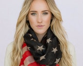 Vintage American Flag Infinity Scarf, Winter Olympics 14, Tattered Patriotic July 4th Scarves Red White Blue Infinity Flag Scarf (SCF-93)