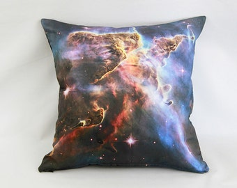 ON SALE: Carina Nebula Pillow Cover - Digital NASA Space Photo on Cotton Fabric / Red, Brown, Orange, Blue