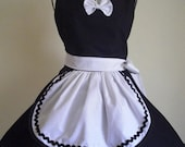French Maid Apron Pin-up Retro Style Black and White Flirty Skirt Sweetheart Neckline