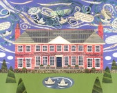 Shelley - Greeting Card - English Romantics - Percy Bysshe Shelley - Poetry - Writers' Houses - Stately Home - Naive Art - Collage - Sussex