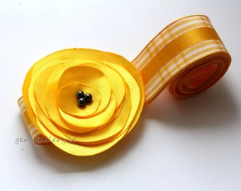 Flower Girl Sash, Yellow Wedding, Flower Satin Belt