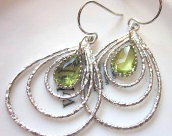 Teardrop and Apple Green Three Tier Earrings, Silver, Gold, Gift, Bridesmaid earrings