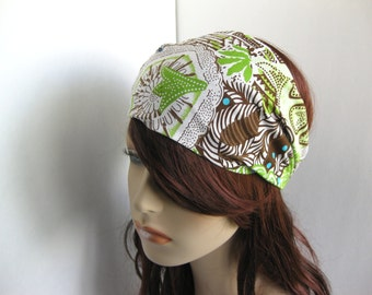 Bohemian Headband Women's Boho Head Wrap White Brown Lime Green Aqua Blue Floral Hair Bandana Michael Miller Fabric Hair Accessory