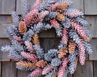"Hand Painted Maine Pinecone Wreath -19"" Spring Easter"