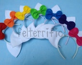 Party Pack- 10, 12 or 14  Handmade Cat or Mouse Ears with Bow Headband