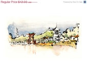"Watercolor Sketch Print: ""From the Ferry Line""- by Luis E. Aparicio - Garabateando"