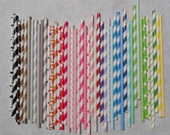 Paper Straw, 75 Pack, Pick Your Color/s