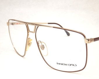 Vintage Aviator Glasses, Gold Metal Eyeglasses with Brown Trim, Mens Mod Eyeglasses, Made in Italy, New old Stock