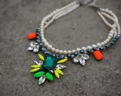 SALE Madame Butterfly - Neon Swarovski Crystals and Swarovski Pearls Statement Necklace - Ready to Ship
