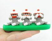 Miniature Three Wise Sock Monkeys Polymer Clay See No Evil Speak No Evil See No Evil