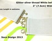 """Glitter Silver White Belt, White Silver Belt, Glitter White belt, 3"""" Wide, CUSTOM MADE"""
