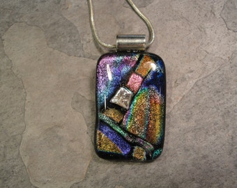 Fused Dichroic Glass Multi-Colored Pendant - BHS02346