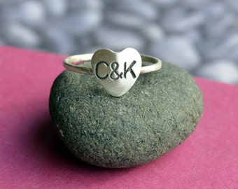 Personalized Heart Ring with Initials in Sterling Silver