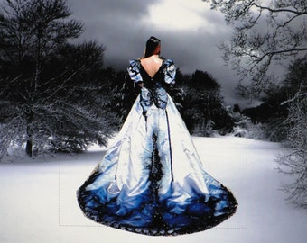 Mardi Gras hand dyed and painted upcycled gothic wedding gown metallic blue and charcoal black Labled size 12 fits like 8/9 MEDIUM halloween
