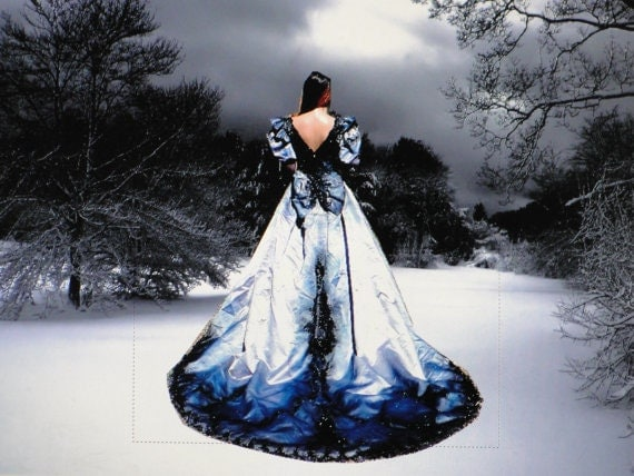 Vintage hand dyed and painted upcycled gothic by for Blue and black wedding dresses
