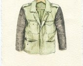 Military Beat Up Jacket with Faux Leather Sleeves
