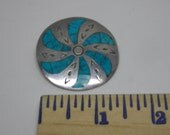 Round Vintage Sterling Silver Brooch/Pendant W/ Turquoise Inlay