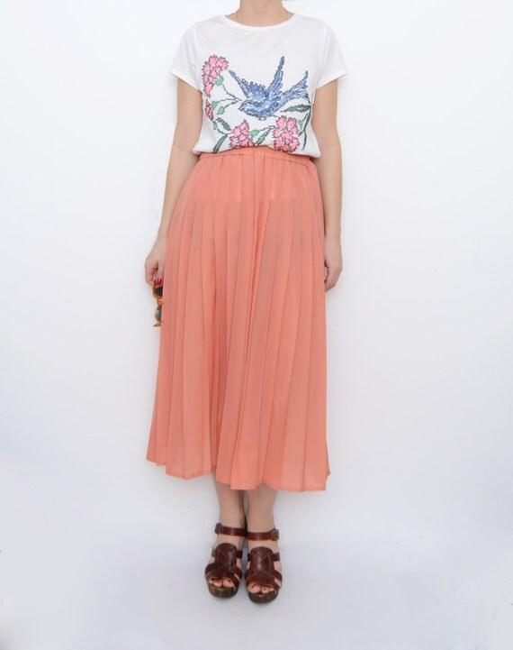 vintage pastel orange pleated palazzo maxi skirt