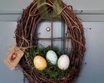 Easter Wreath - LIMITED IN QUANTITY- Nest with Natural Speckled Easter Eggs and Spanish Moss - Ribbon Changeable