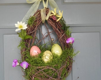 Easter Wreath - LIMITED STOCK!! Nest with Crackle Easter Eggs- Still time to ship before Easter