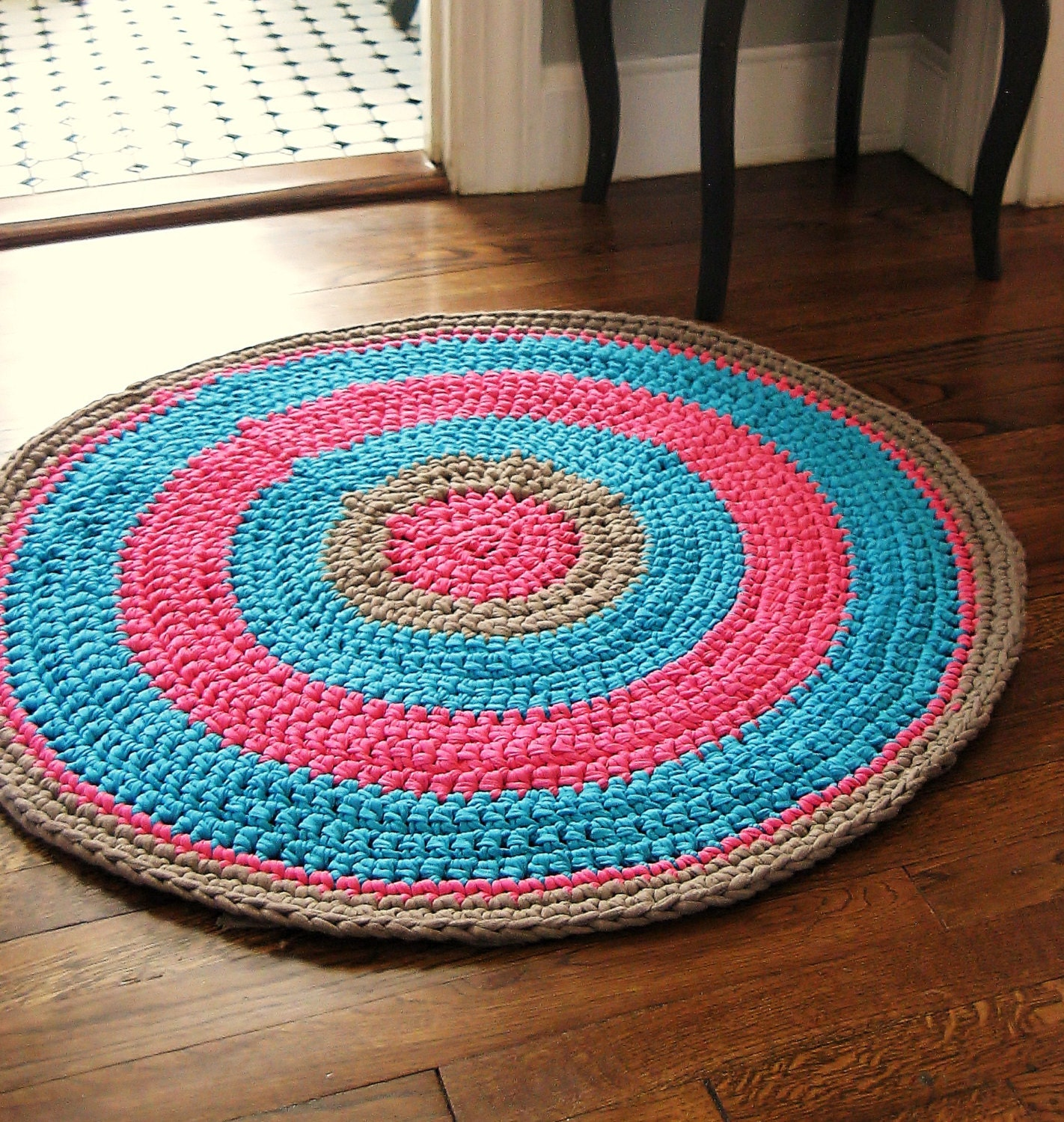 SALE Crochet Rug 32 Fuschia Pink Aqua and by CreativeHandsBoston