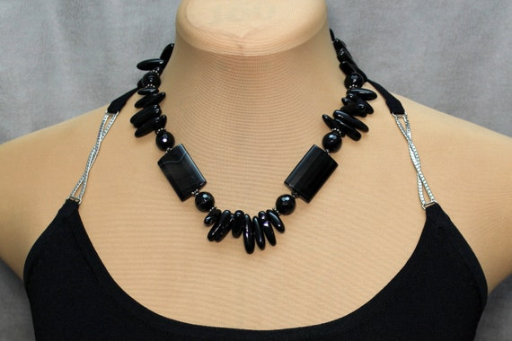 Black Onyx, Silver plated, Original Statement Necklace