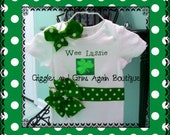 St. Patricks Day Wee Lassie Me Ribbon and Bows Onesie or Tee shirt - 6 - 24 months Bodysuit or 2 - 6 Tee shirt