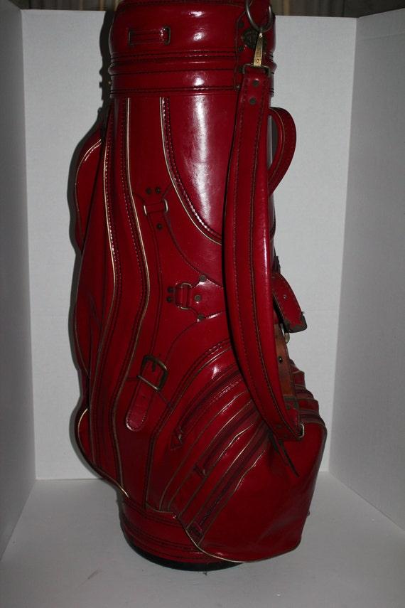 Vintage Golf Bag Burton Double Stitched Leather Trim Large