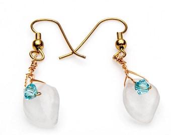 Light Blue White Dangle Earrings, Leaf Earrings, Nature Jewelry, Spring Jewelry