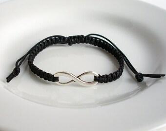 Black Silver Infinity Charm Bracelet, Silver Infinity Bracelet, Macrame Bracelet, Adjustable Friendship Infinity Bracelet
