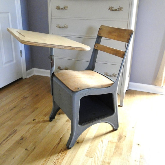 Vintage Blue Gray Elementary School Desk Chair Under Storage