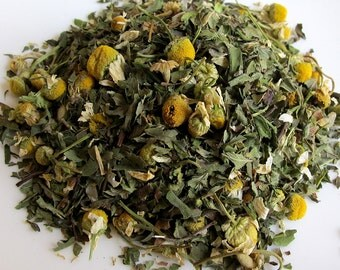 Mother-To-Be Organic Nausea Remedy 3oz Herbal Tea: Stomach Soothing Blend of Mint & Chamomile Maternity Loose/ Bags Nausea Morning Sickness
