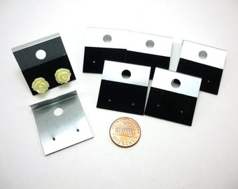 12 pcs Earring Cards - Black and silver - plastic base with velveteen strip - 30x30mm